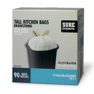 Sure Strength  13 gal. Tall Kitchen Bags  Drawstring  90 pk