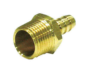 JMF  Brass  Hose Connector  3/8 in. Hose Barb  Dia. x 1/4 in. Dia. Yellow  1 pk