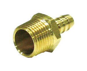 JMF  Brass  Hose Connector  3/8 in. Hose Barb  Dia. x 1/4 in. MPT  Dia. Yellow  1 pk