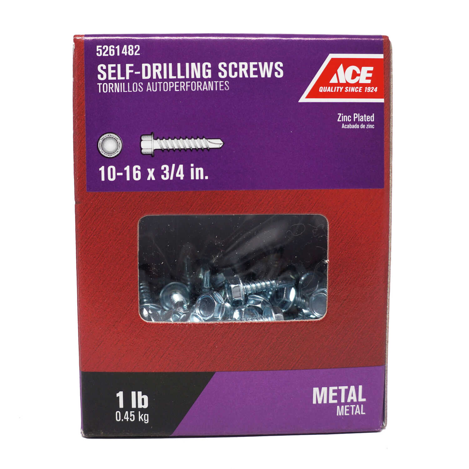 Ace  3/4 in. L x 10-16 Sizes  Hex Washer Head Zinc-Plated  Self- Drilling Screws  1 lb. Steel