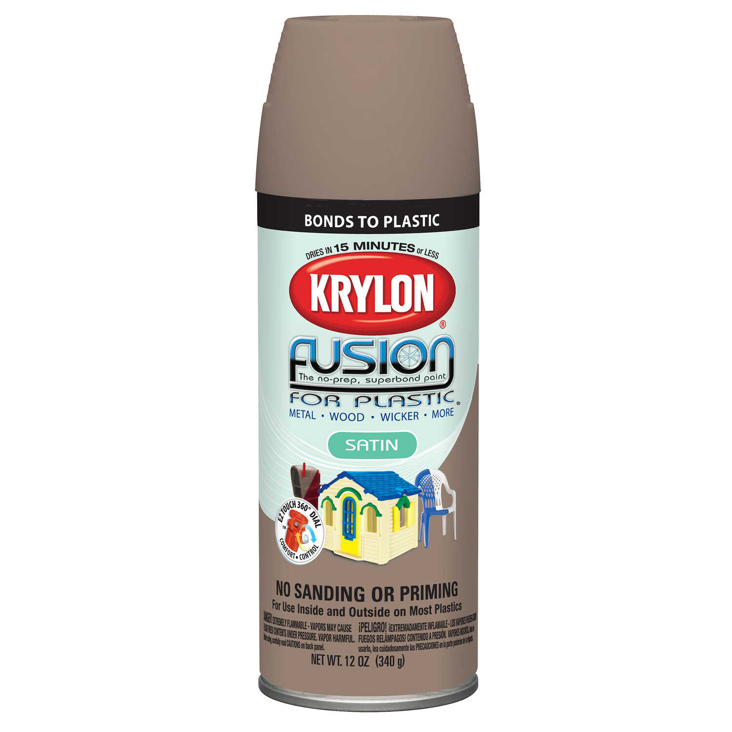 Krylon  Satin  Fusion Spray Paint  River Rock  12 oz.