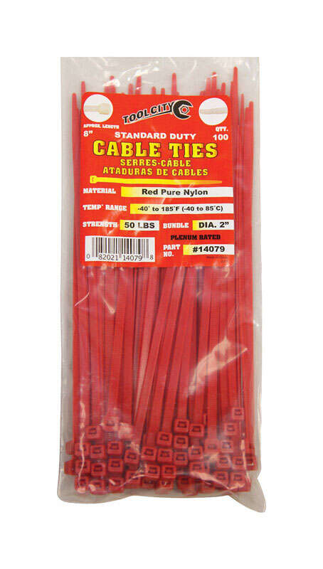 Tool City  8 in. L Red  Cable Tie  100 pk