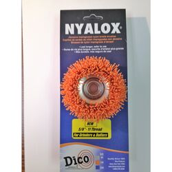 Dico Nyalox 3 in. Dia. x 5/8-11 in. x 1/4 Dia. Crimped Nylon Mandrel Mounted Cup Brush 12500