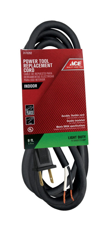Ace  16/2 SJ  9 ft. L Power Tool Replacement Cord