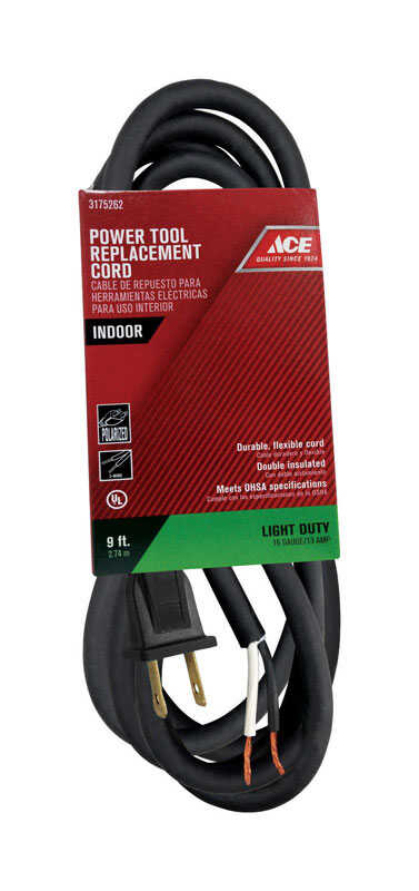 Ace  16/2 SJ  125 volt 9 ft. L Appliance Cord