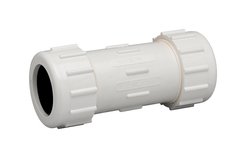 Homewerks  Schedule 40  1/2 in. Compression   x 1/2 in. Dia. Compression  PVC  Coupling