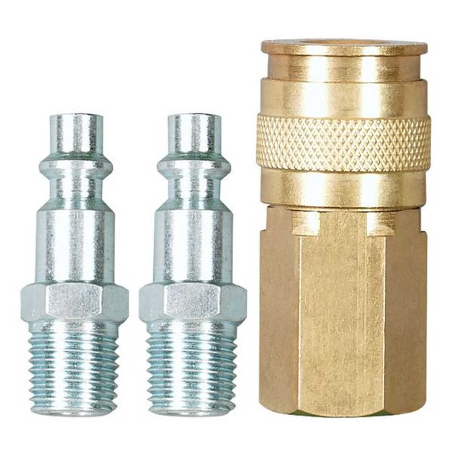 Craftsman  Stainless Steel  Universal Coupler Kit  1/4 in. Male  Gold/Silver  3 pc. 1/4 in.