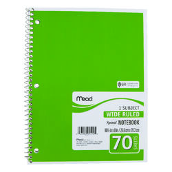 Mead  8 in. W x 10-1/2 in. L Wide Ruled  Spiral  Notebook