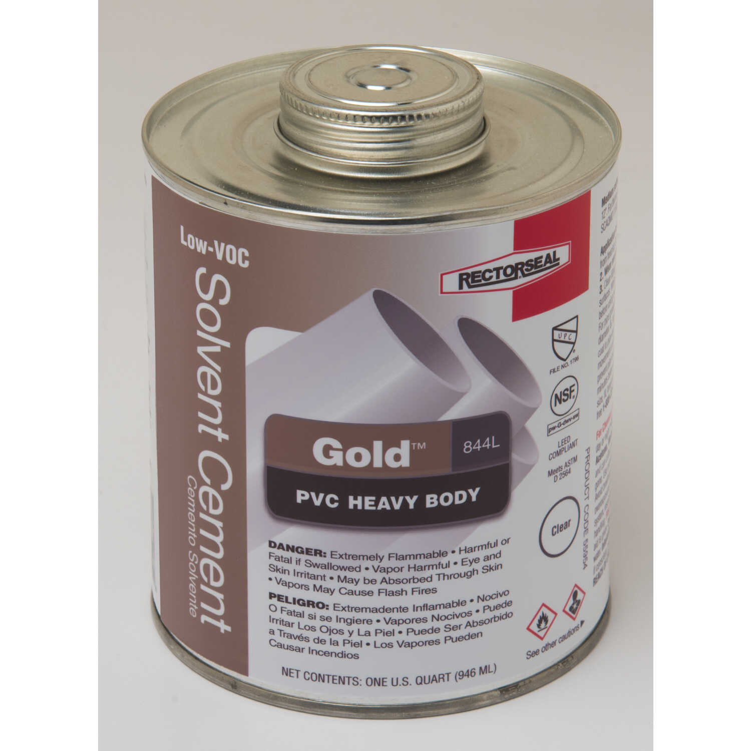 Rectorseal  Gold  Clear  Solvent Cement  For PVC 32 oz.