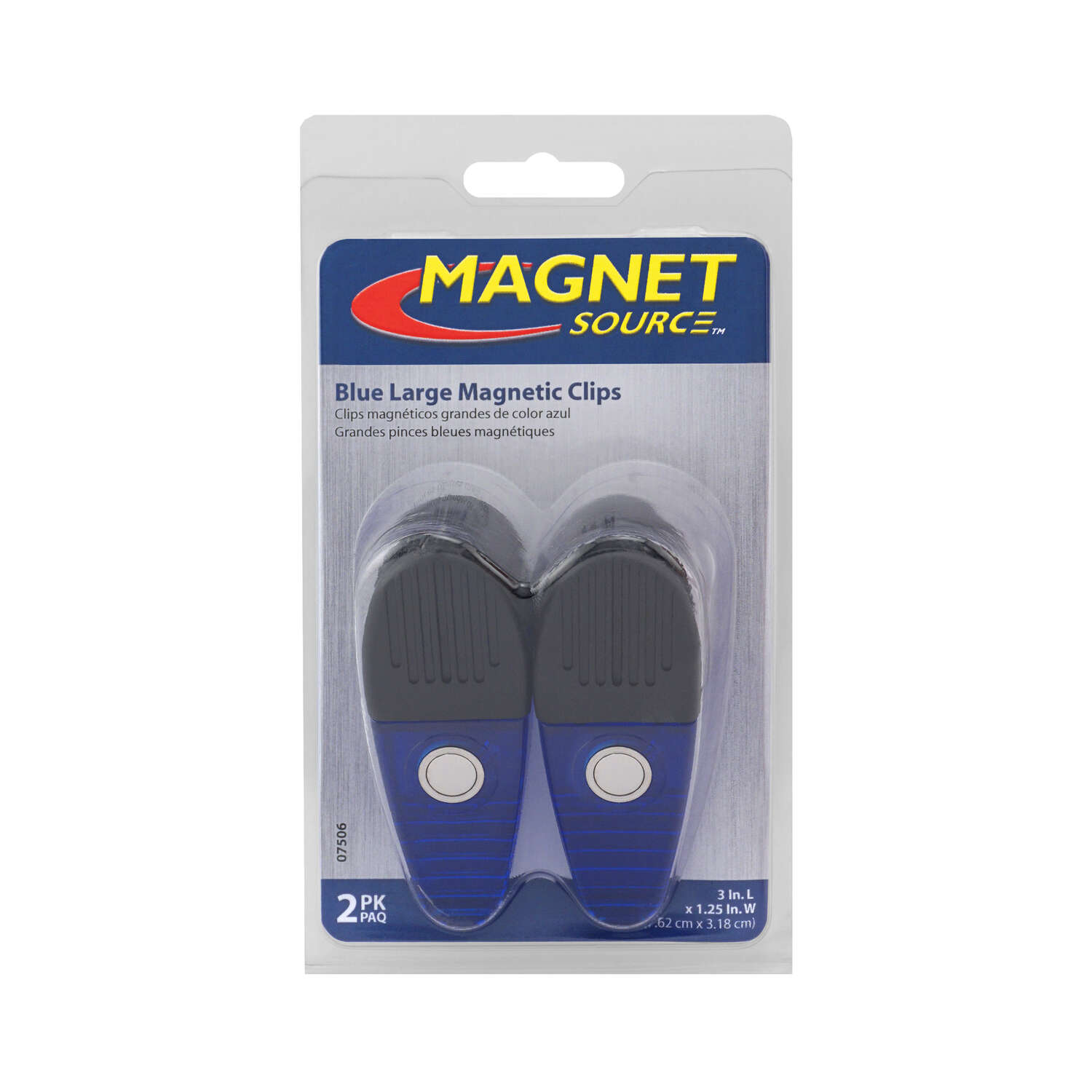 Master Magnetics  The Magnet Source  3.5 in. Neodymium/Plastic  Magnetic Clips  Blue  2 pc. 35 MGOe