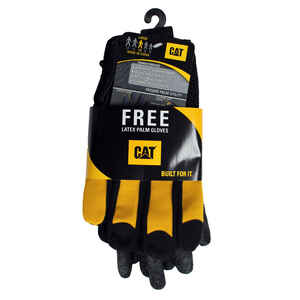CAT  Men's  Leather/TPR  Utility  Work Gloves  Black/Yellow  L  2 pk