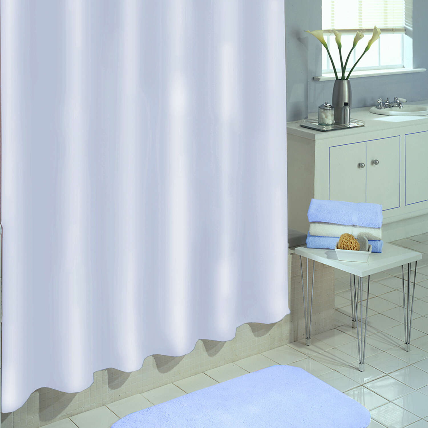 Excell 70 in. H x 71 in. W White Solid Shower Curtain Liner Vinyl