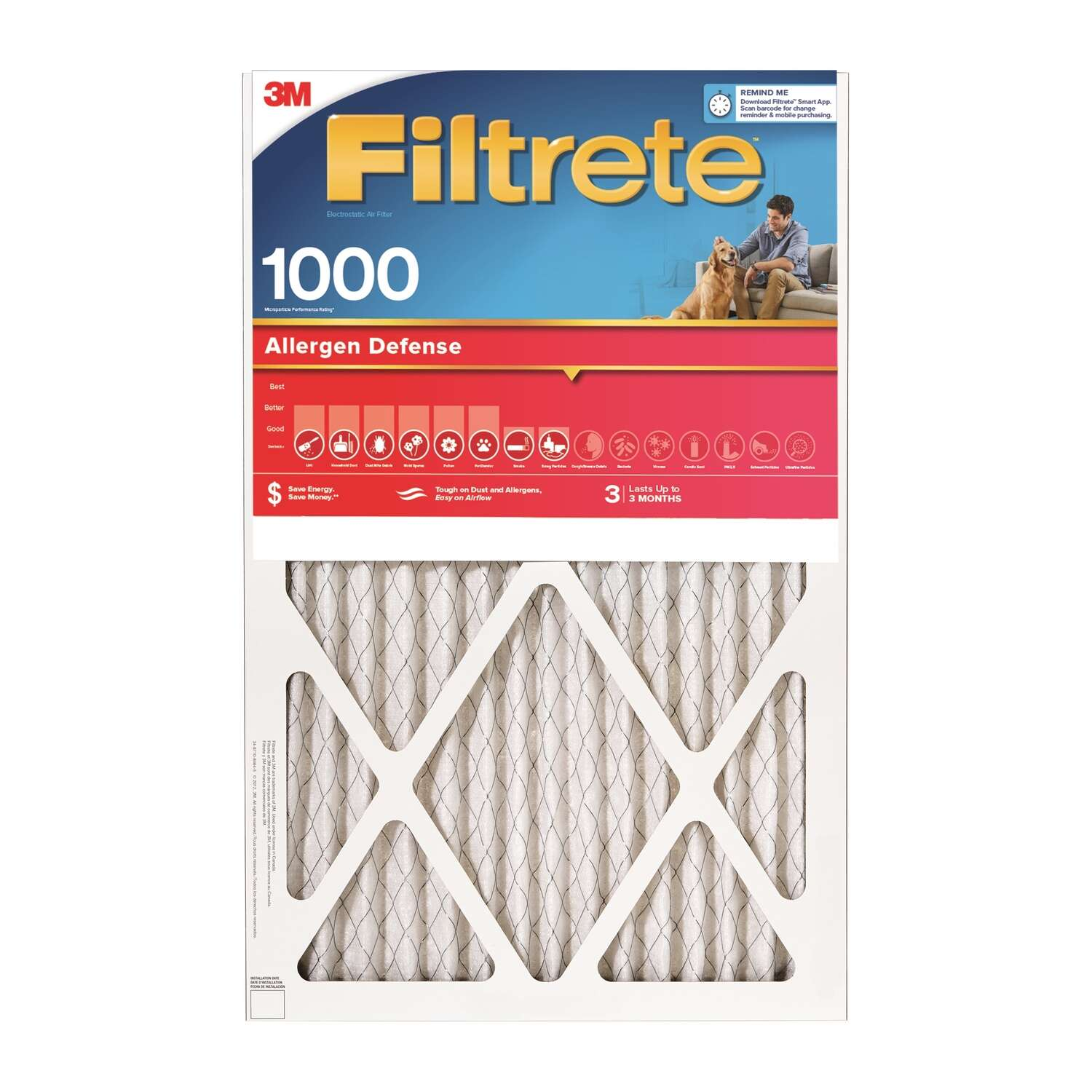 3M  Filtrete  14 in. H x 1 in. D x 14 in. W Air Filter