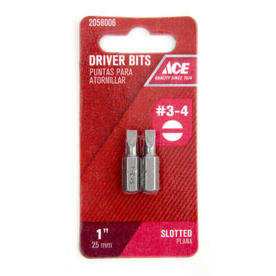 Ace  Slotted  3   x 1 in. L Insert Bit  S2 Tool Steel  2 pc.