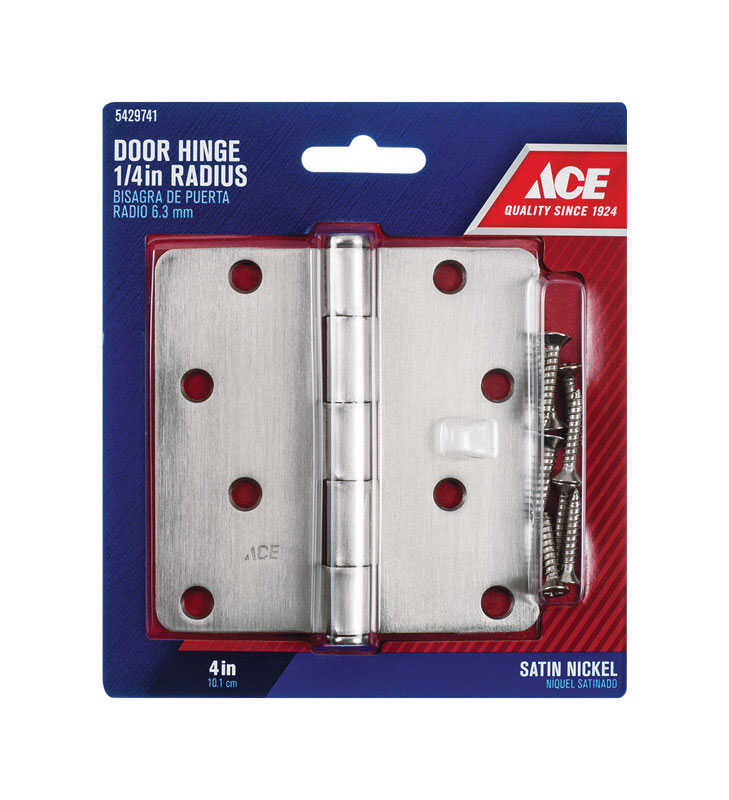 Ace  4 in. L Satin Nickel  Steel  Door Hinge  1 pk