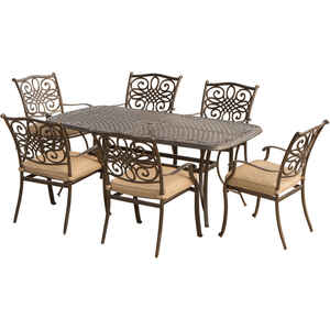 Hanover  Traditions  7 pc. Bronze  Aluminum  Dining  Patio Set  Tan