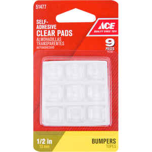Ace  Vinyl  Bumper Pads  Clear  Square  1/2 in. W x 1/2 in. L 9 pk Self Adhesive