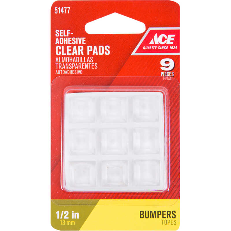 Ace  Vinyl  Self Adhesive Bumper Pads  Clear  Square  1/2 in. W x 1/2 in. L 9 pk