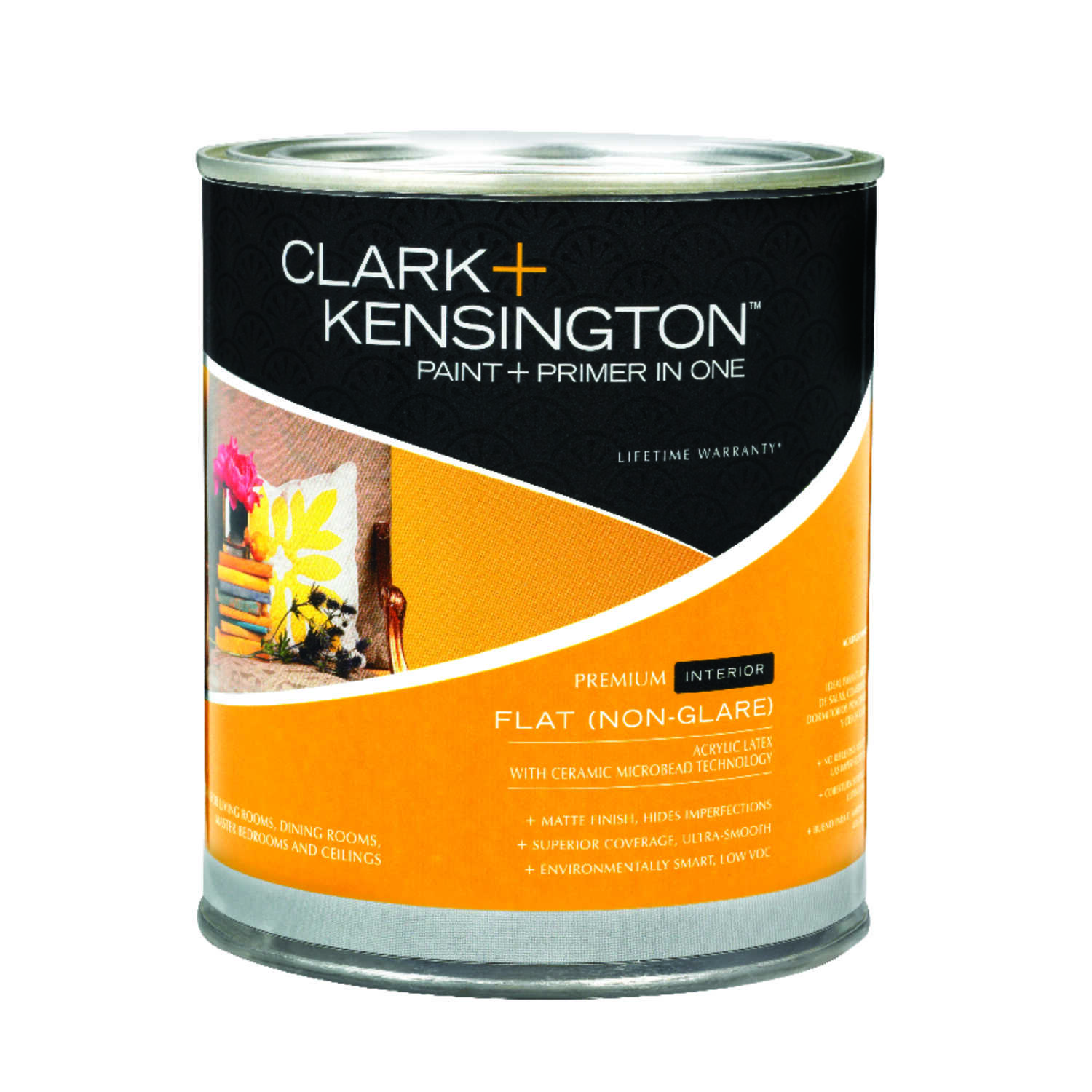 Clark+Kensington  Flat  Acrylic Latex  1 qt. Paint and Primer  Designer White