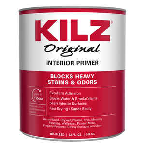 Kilz  Original  White  Oil-Based  Primer  For Wood, Drywall, Plaster, Paneling, Wallpaper, Mason 1 q