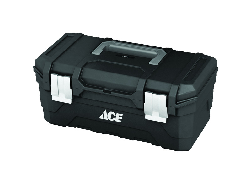 Ace  16 in. 9.25 in. W x 10.5 in. H Plastic  Black  Tool Box