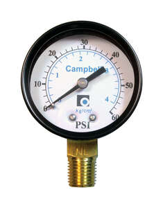 Campbell  2 in. 0 psi 60 psi Pressure Gauge