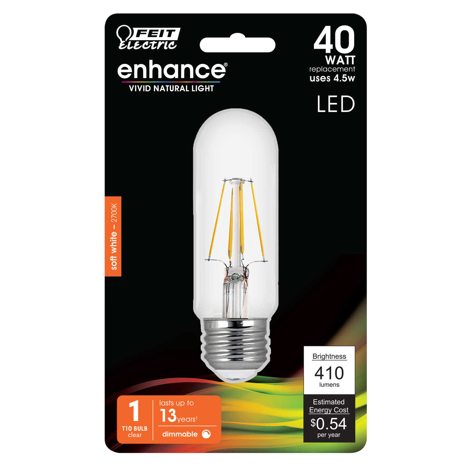FEIT Electric  4.5 watts T10  LED Bulb  400 lumens Soft White  40 Watt Equivalence Tubular