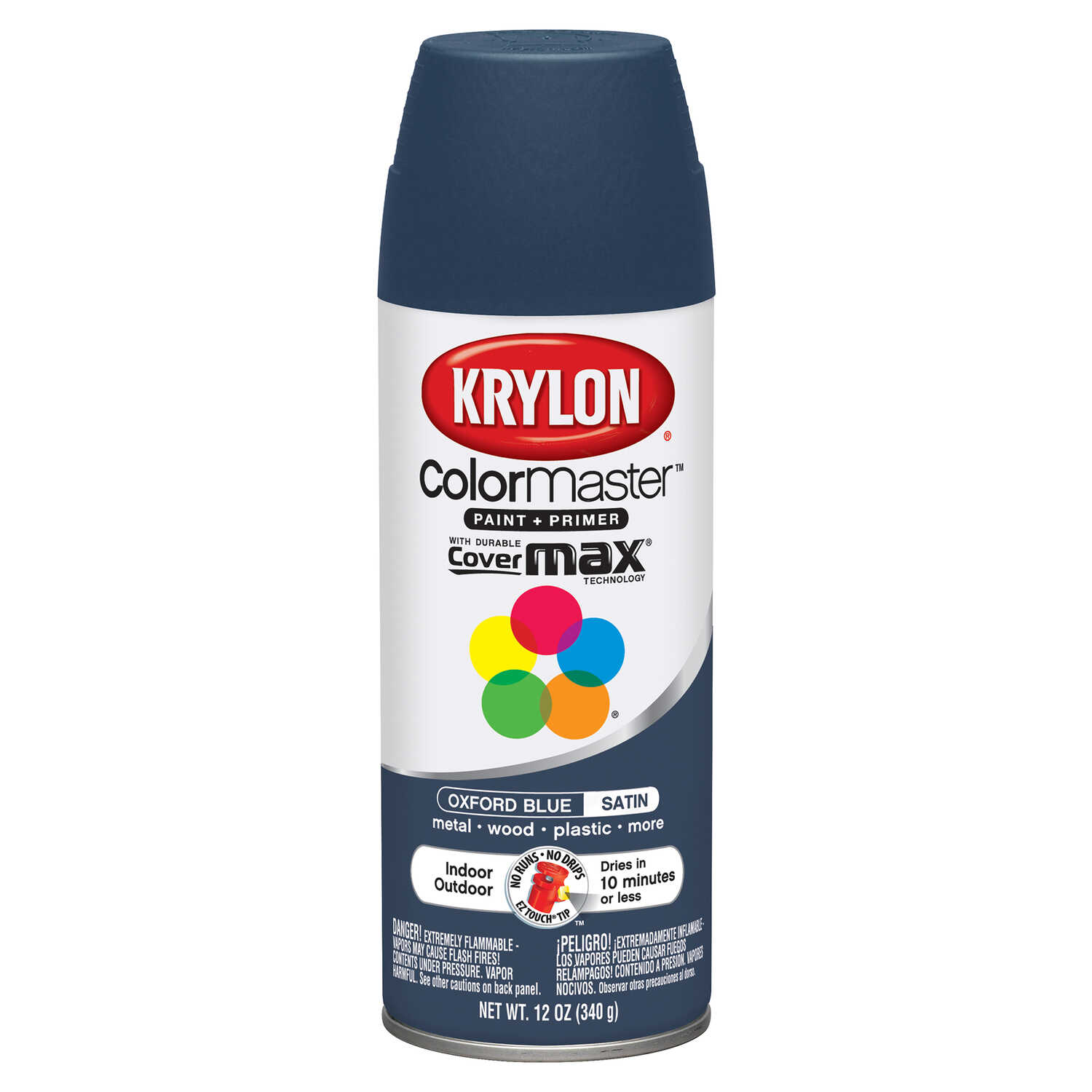 Krylon  ColorMaster  Satin  Oxford Blue  Spray Paint  12 oz.
