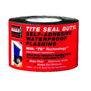 Tite Seal  4 in. H x 4 in. W x 75 ft. L Steel  Flashing Butyl  White  Roll