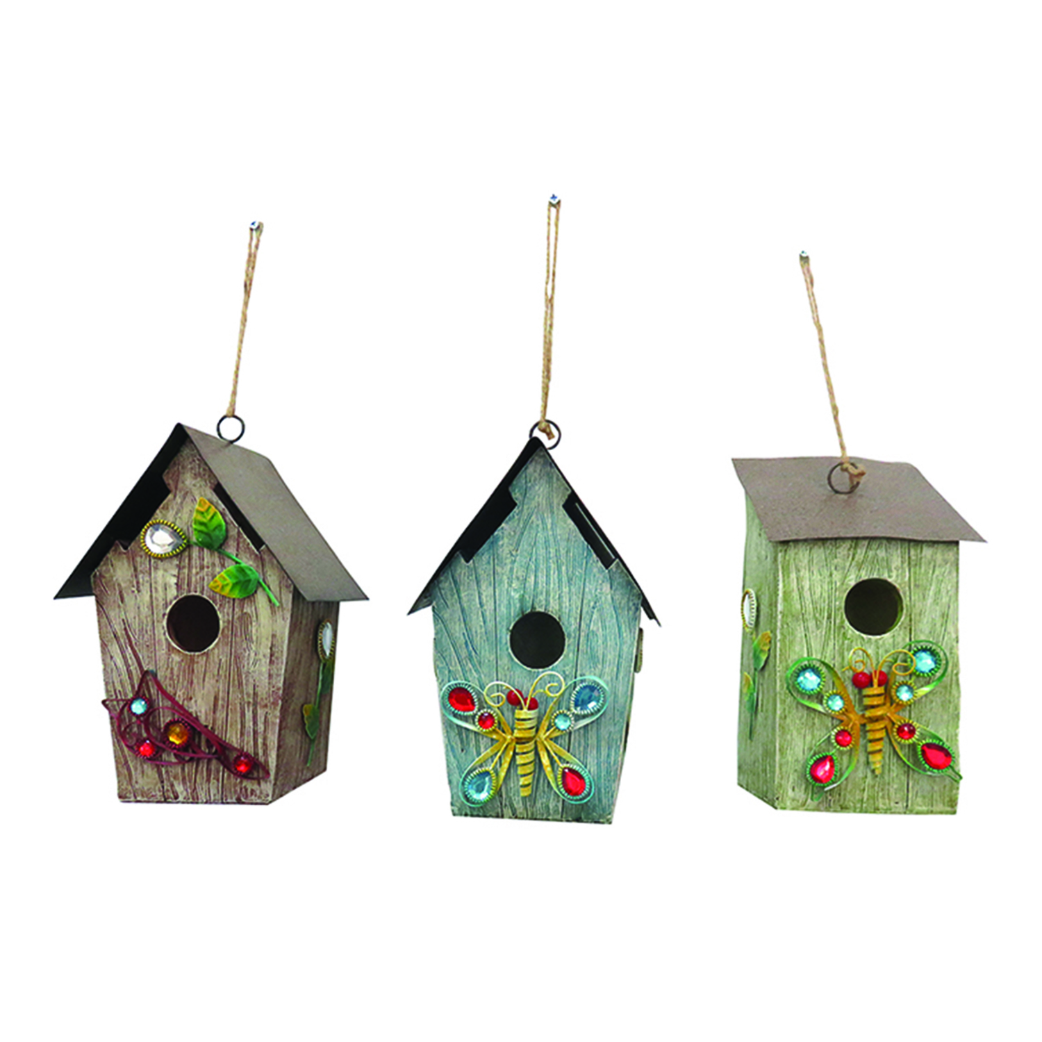 Alpine  9.64 in. Metal  Bird House
