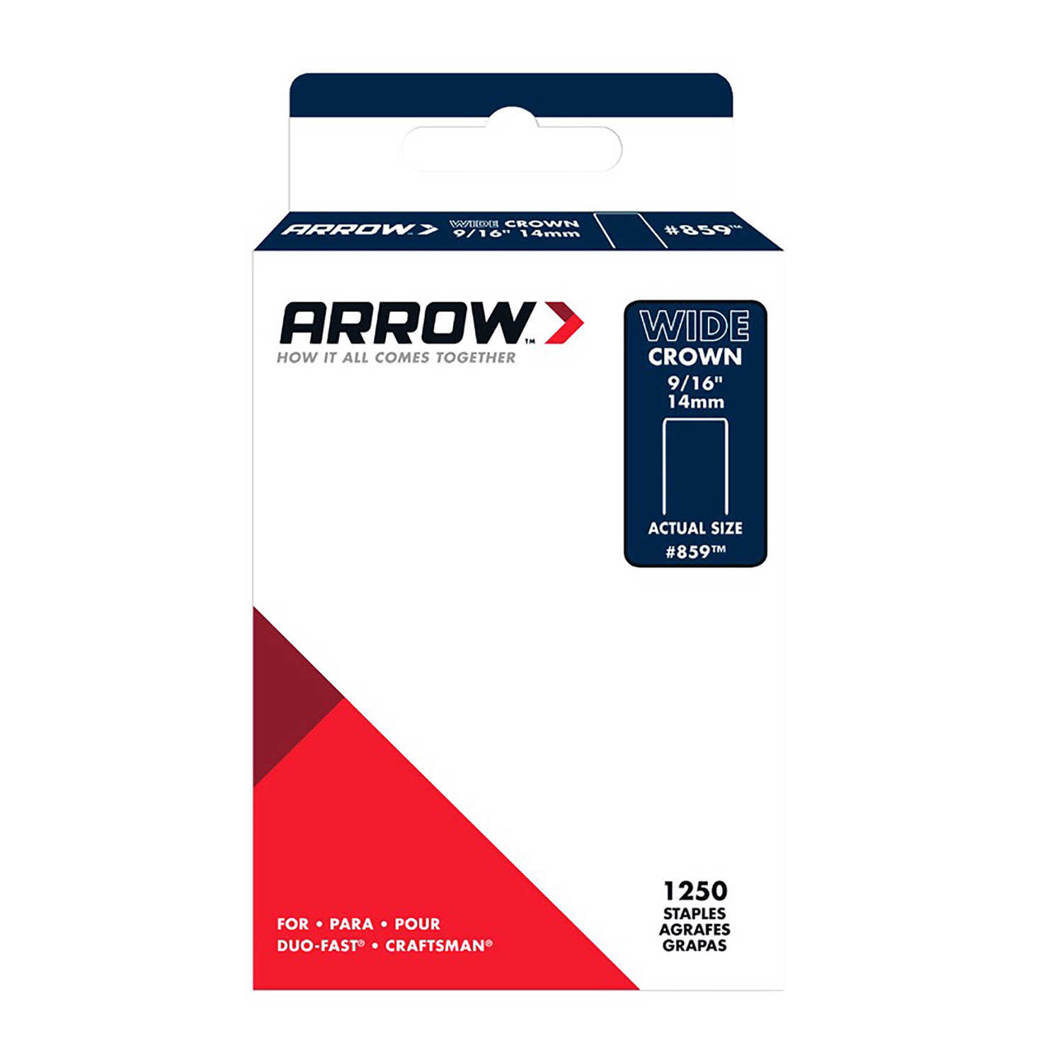 Arrow Fastener  #859  9/16 in. L x 1/2 in. W Wide Crown  Standard Staples  1250 pk