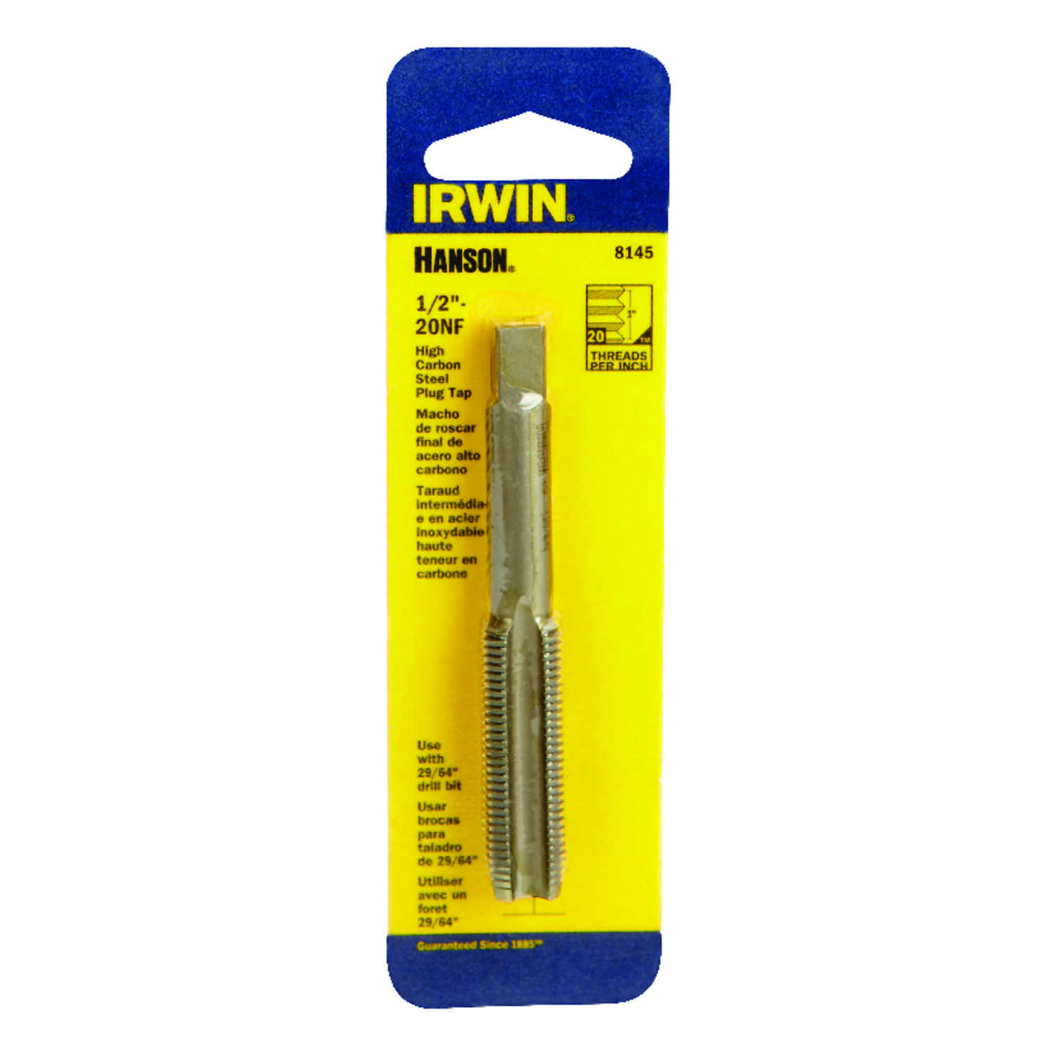 Irwin  Hanson  High Carbon Steel  SAE  Fraction Tap  1/2 in.-20NF  1 pc.