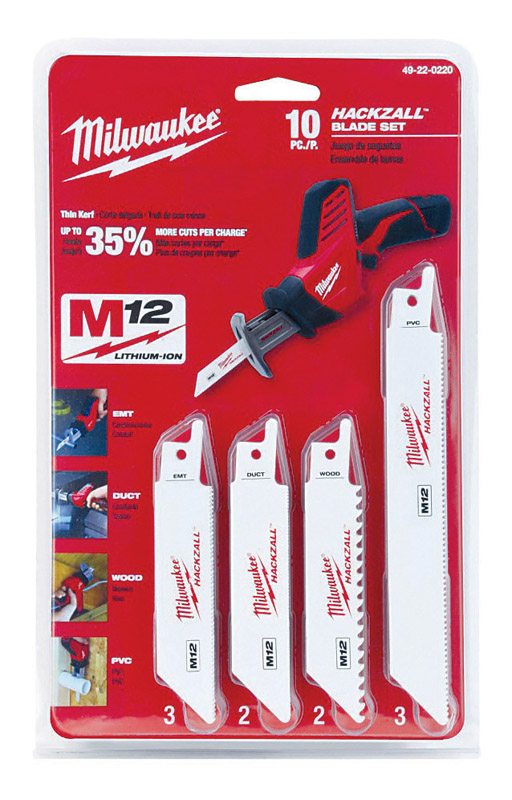 Milwaukee  M12  6 in. L x 0.75 in. W Bi-Metal  HACKZALL  Multi TPI 10 pk Reciprocating Saw Blade Set