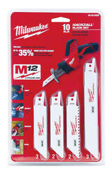 Milwaukee  M12  6 in. Bi-Metal  HACKZALL  Reciprocating Saw Blade Set  Multi TPI 10 pk