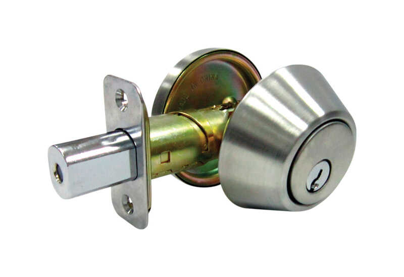 Faultless  Satin Stainless Steel  Metal  Single Cylinder Deadbolt  ANSI Grade 3  1-3/4 in in.