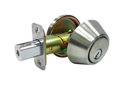Faultless  Satin Stainless Steel  Single Cylinder Deadbolt  ANSI Grade 3  1-3/4 in in.