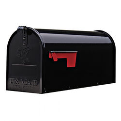 Gibraltar Mailboxes  Elite  Galvanized Steel  Post Mounted  Black  Mailbox  8-3/4 in. H x 6-7/8 in.