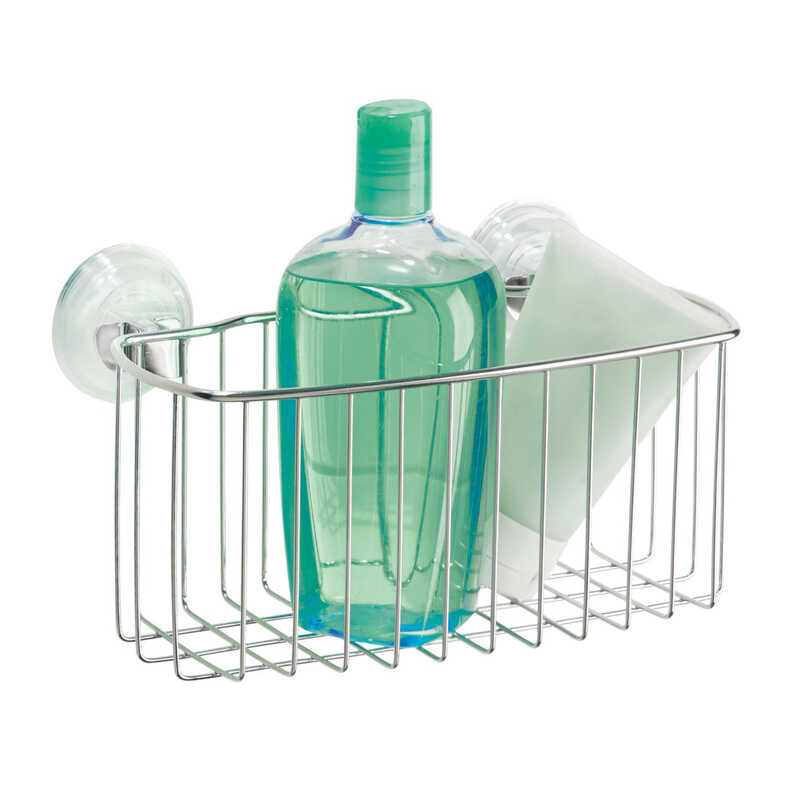 InterDesign  Power Lock  Shower Basket  3-5/16 in. H x 9-3/16 in. W x 5-5/16 in. L Silver  Stainless