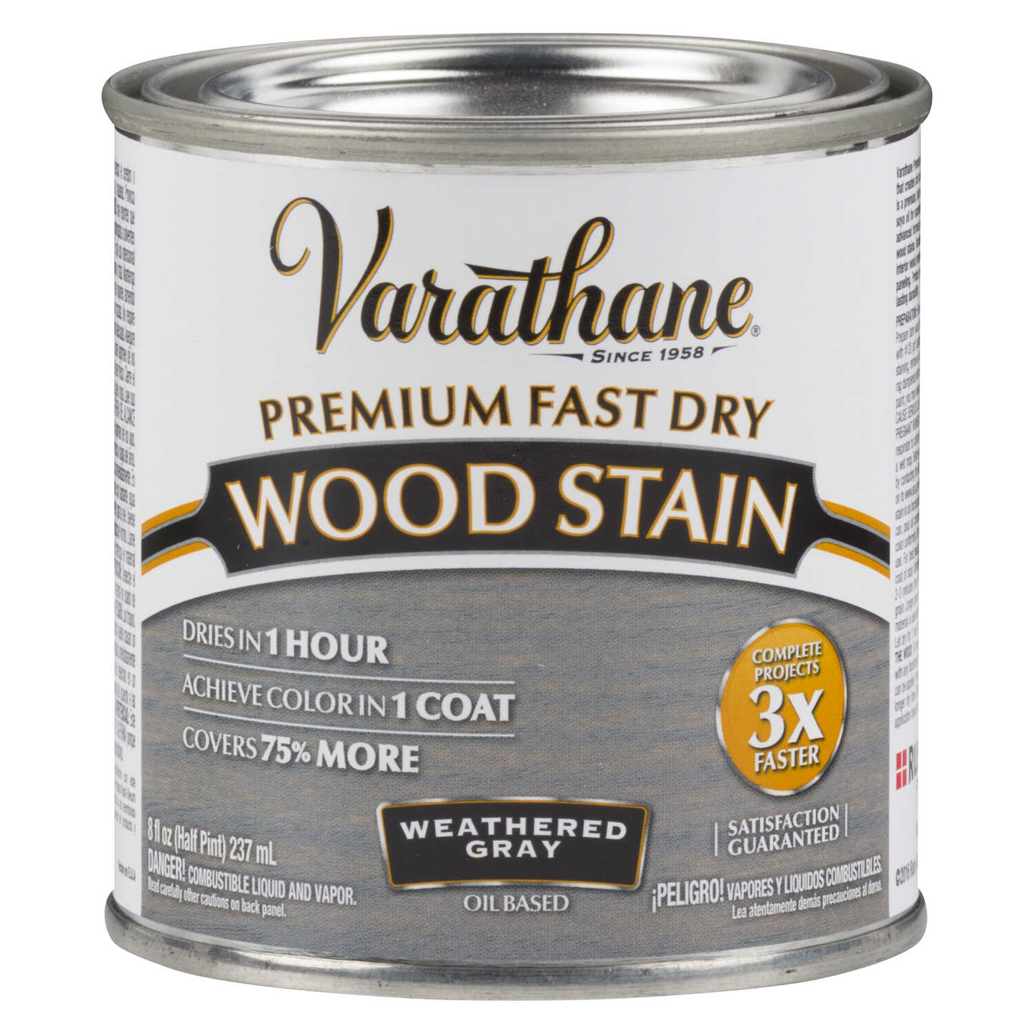 Varathane  Premium Fast Dry  Semi-Transparent  Weathered Gray  Wood Stain  0.5 pt.