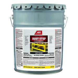 Ace  Rust Stop  Indoor and Outdoor  Gloss  Safety Yellow  Rust Prevention Paint  5 gal.