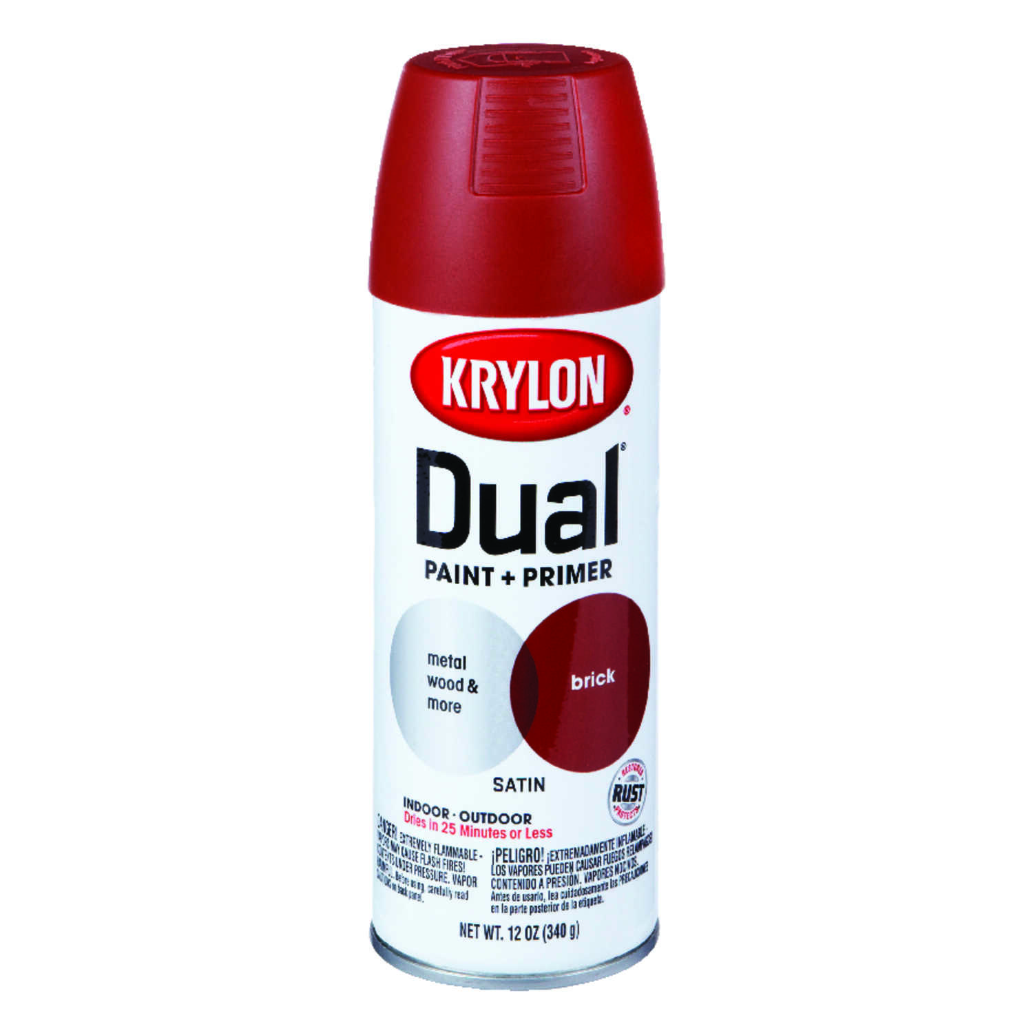 Krylon  Dual  Satin  Paint + Primer Spray Paint  12 oz. Brick