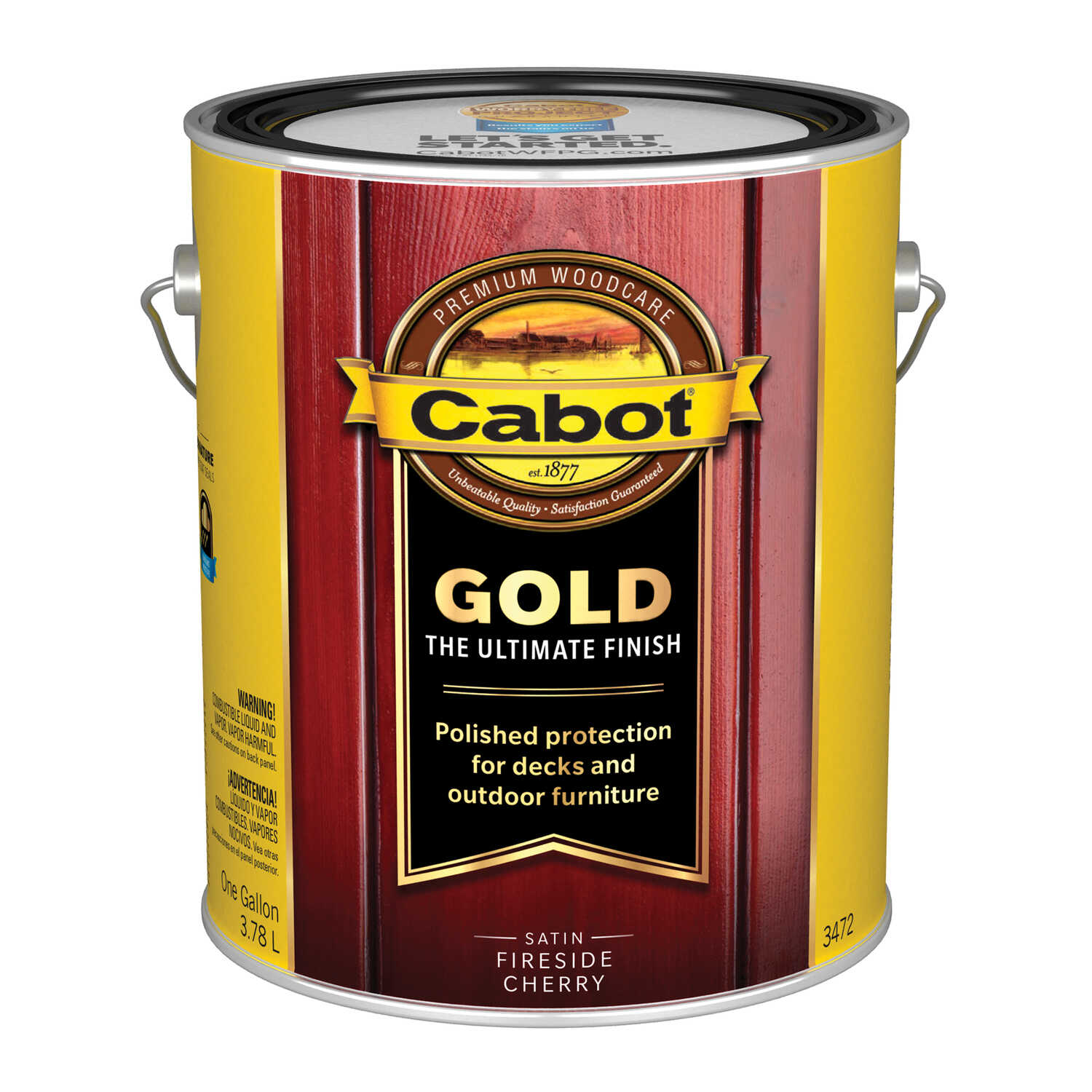 Cabot  Gold  Transparent  Satin  Fireside Cherry  Oil-Based  Natural Oil/Waterborne Hybrid  Stain  1
