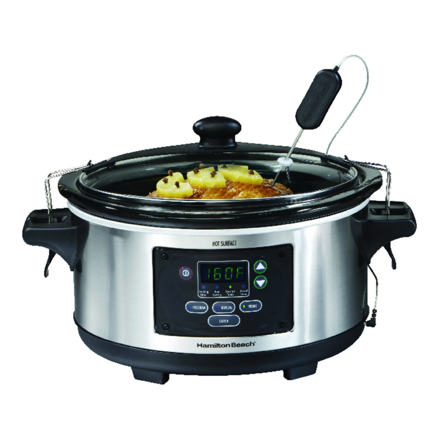 Hamilton Beach  6 qt. Stainless Steel  Programmable Silver  Slow Cooker