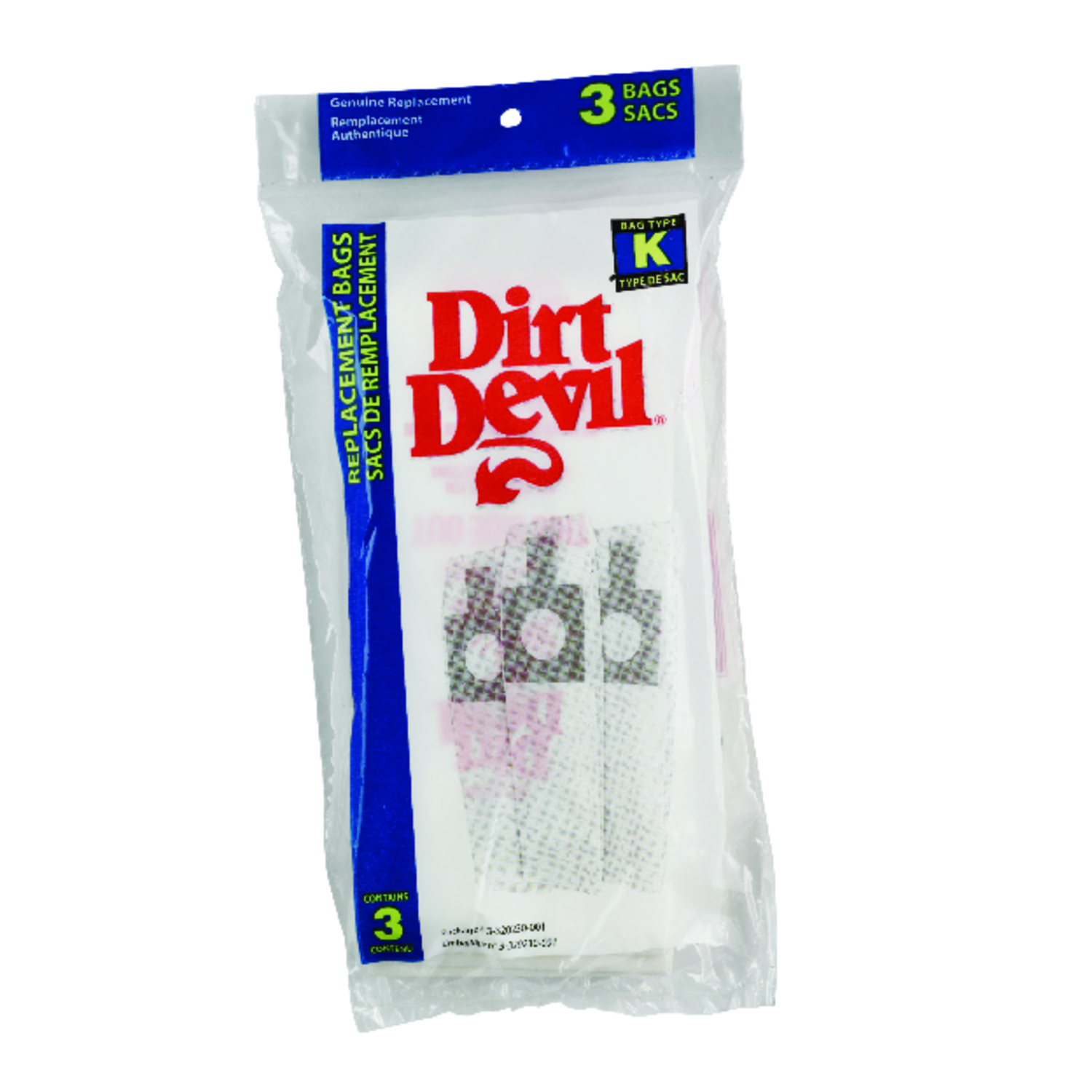 Dirt Devil Royal Vacuum Bag  Type K Fits the Dirt Devil Royal Stick Peggable 3 / Pack Stick Vac