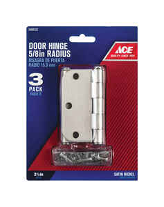 Ace  3-1/2 in. L Satin Nickel  Door Hinge  3 pk