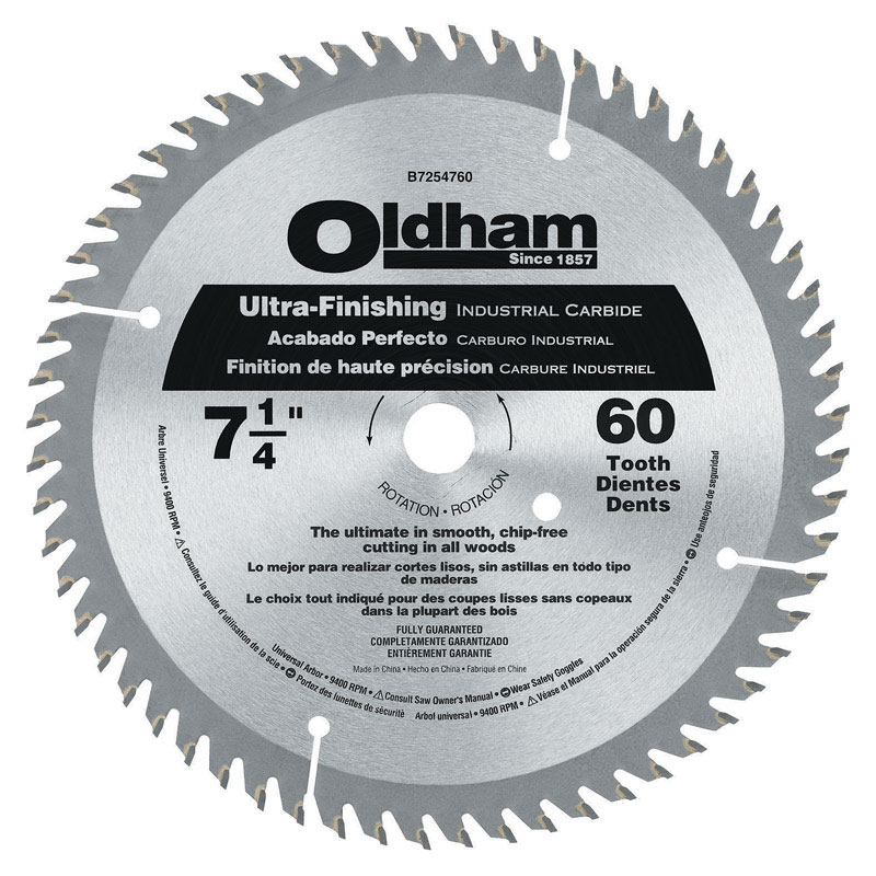 Oldham  7-1/4 in.  Circular Saw Blade  60 teeth 1 pk 5/8 in.  Carbide Tipped