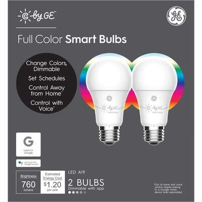 C by GE  A19  E26 (Medium)  LED Smart Bulb  Color Changing  60 Watt Equivalence 2 pk