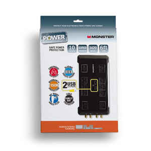 Monster Cable  Just Power It Up  3420 J 6 ft. L 10 outlets Surge Protector