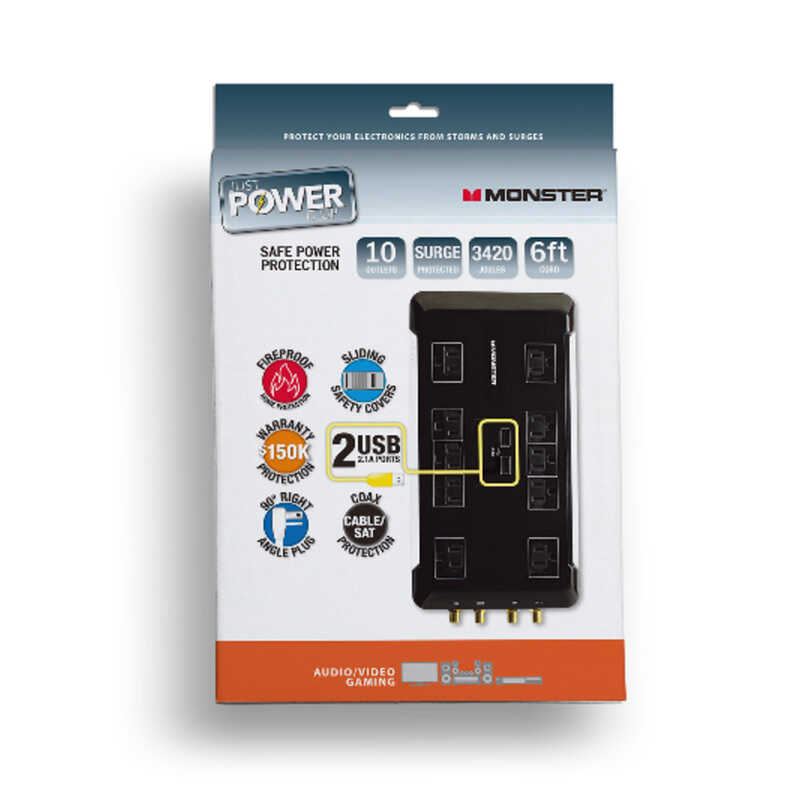 Monster  Just Power It Up  3420 J 6 ft. L 10 outlets Surge Protector