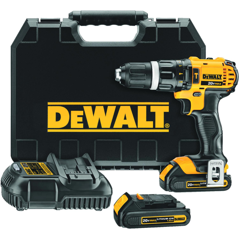 Dewalt 20v Max 20 Volt Brushed Cordless Compact Hammer Drill Kit 1 2 In
